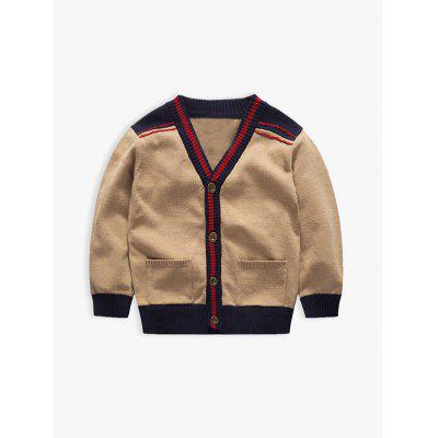 V Neck Long Sleeve Color Block Cardigan For Boy