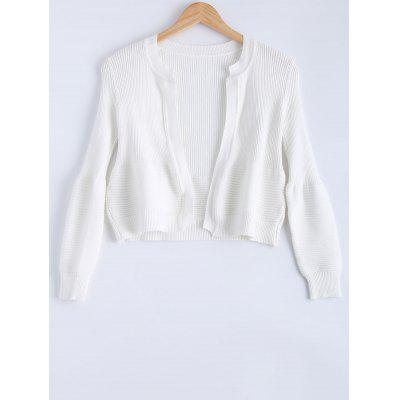 Cute Puff Sleeve Ribbed Cardigan For Women