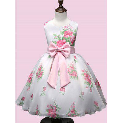 Bows Embellished Flower Printed Dress
