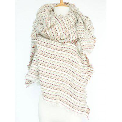 Stylish Small Plaid and Stripe Design Fringed Pashmina