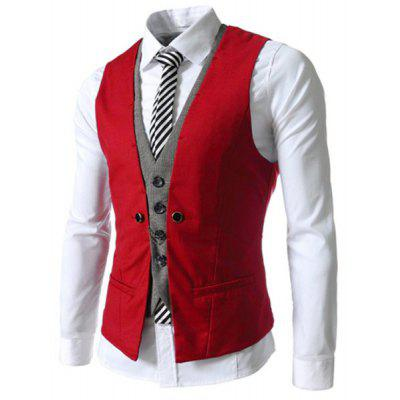 Buy Faux Twinset V-Neck Single Breasted Color Block Sleeveless Waistcoat For Men RED XL for $15.46 in GearBest store
