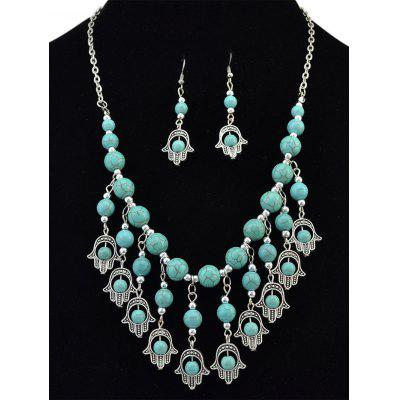 Palm Fringe Artificial Turquoise Beads Jewelry Set
