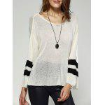 Chic Scoop Neck Loose Striped Sleeve High Low Knitwear For Women - WHITE