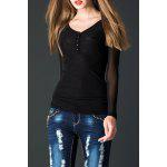 Lace Spliced See-Through Tee - BLACK