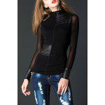 Color Block See-Through Spliced Tee - BLACK