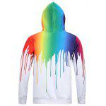 Buy Look Paint Splash Print Long Sleeve Hoodie Men 3XL WHITE