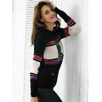 Chic Color Block Embroidery Women's Sweater - BLACK