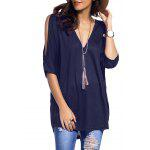 Cold Shoulder Asymmetrical Low Cut V Neck Tee - KOYU MAVI