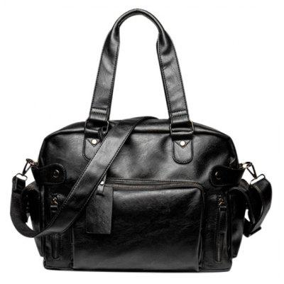 Casual Black Color and Multi Zips Design Tote Bag For Men