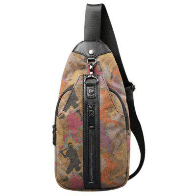 Stylish Camouflage Print and Canvas Design Crossbody Bag For Men