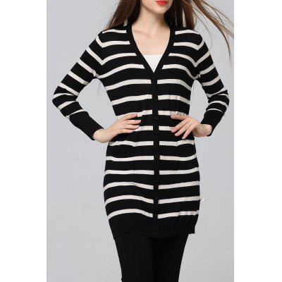 Striped Sheath Long Cardigan