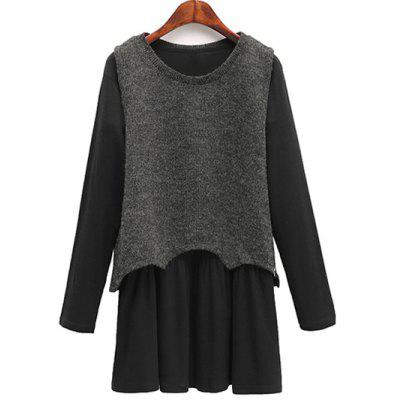 Casual Knitted Tank Top + Long Sleeve Dress Plus Size Twinset