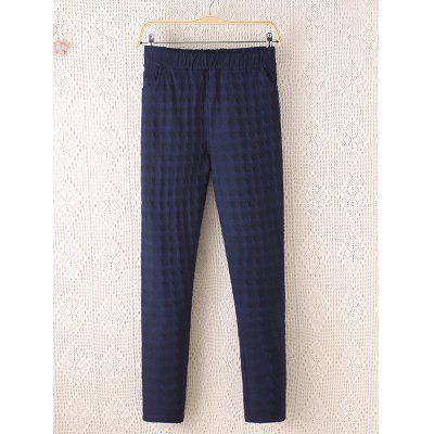 Plus Size Plaid Pattern Tapered Pants