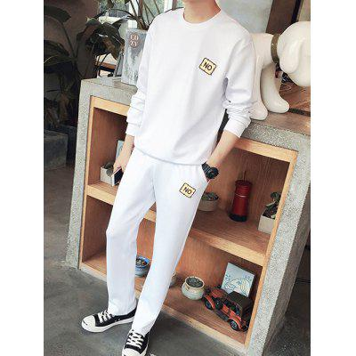 Plus Size Round Neck Applique Long Sleeve Sport Suit ( Sweatshirt + Pants ) For Men