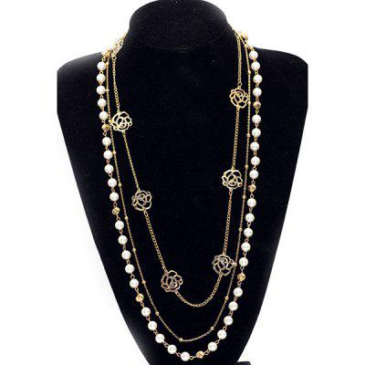Buy GOLDEN Faux Pearl Rose Layered Sweater Chain for $3.52 in GearBest store