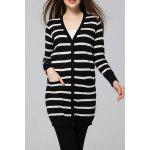 cheap Striped Sheath Long Cardigan