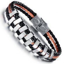 Chic Faux Leather Layered Braided Bracelet For Men