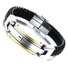 Stylish Cross Faux Leather Braided Bracelet For Men