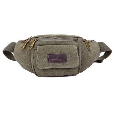 Simple Style Zippers and Solid Color Design Waist Bag For Men