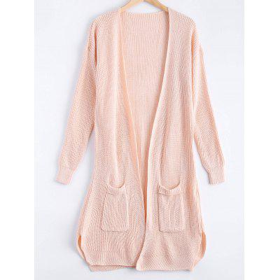 Soft Solid Color Pocket Design Cardigan