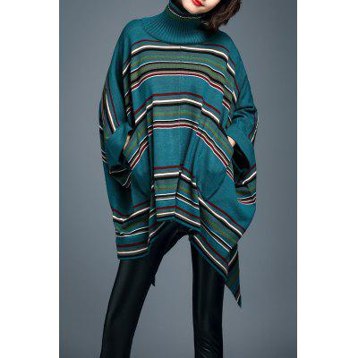 Stripe Turtleneck Batwing Sleeve Sweater