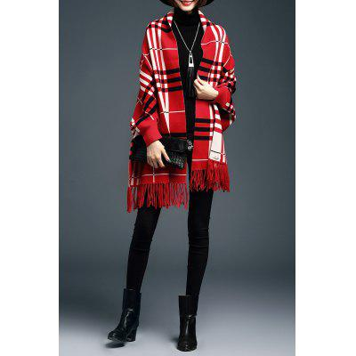 Plaid Fringe Cape Cardigan