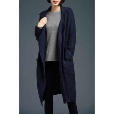 Turn-Down Collar manches longues Cardigan long