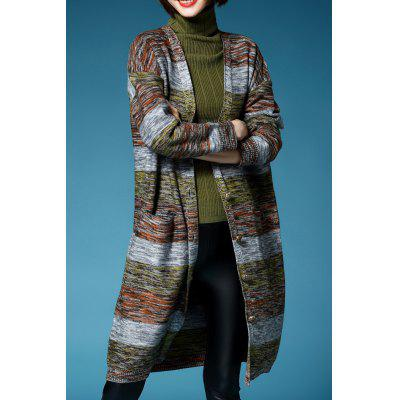 Colormix Plunging Neck Long Sleeve Long Cardigan