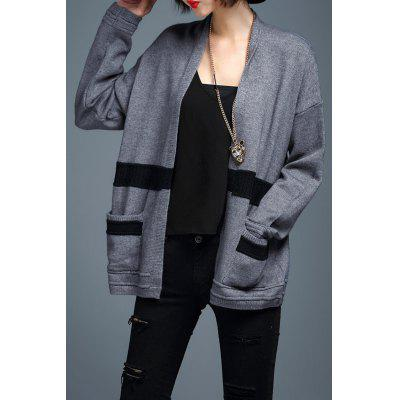 Loose Stripe Long Sleeve Cardigan