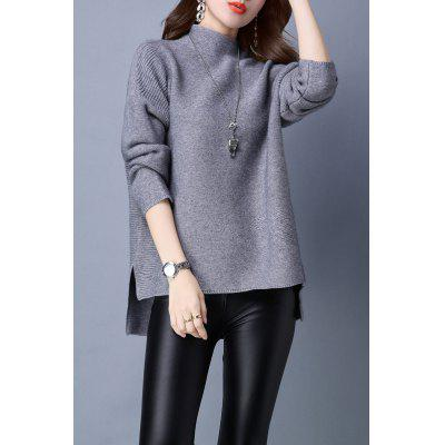 Turtleneck Long Sleeve High Low Sweater