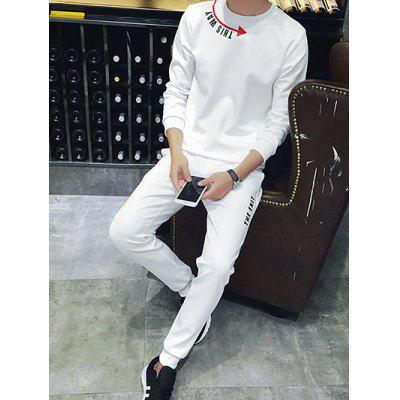 Plus Size Round Neck Arrows and Letter Print Long Sleeve Sport Suit ( Sweatshirt + Pants ) For Men