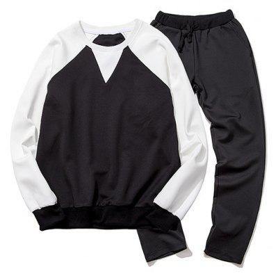 Plus Size Round Neck Color Block Spliced Long Sleeve Sport Suit ( Sweatshirt + Pants ) For Men