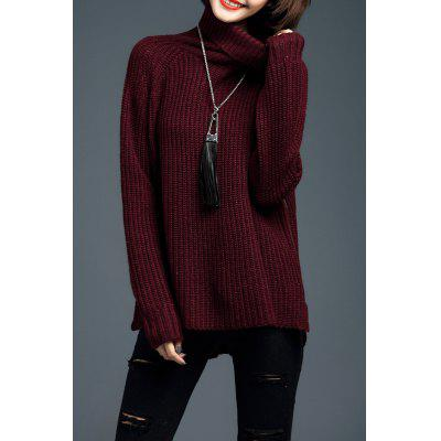 Turtleneck Long Sleeve Side Zipper Sweater