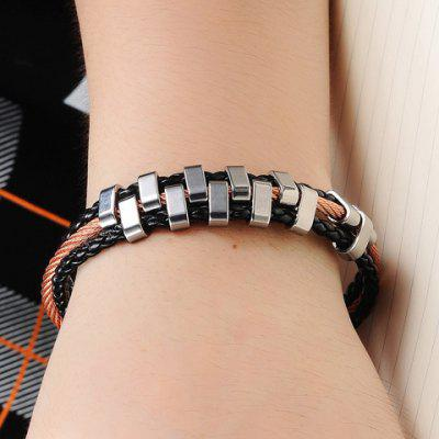 Chic Faux Leather Layered Braided Bracelet For MenMens Jewelry<br>Chic Faux Leather Layered Braided Bracelet For Men<br><br>Chain Type: Cable-wire Chain, Rope Chain<br>Gender: For Men<br>Item Type: Strand Bracelet<br>Metal Type: Alloy<br>Package Contents: 1 x Bracelet<br>Shape/Pattern: Others<br>Style: Trendy<br>Weight: 0.044kg
