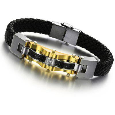 Rhinestone Faux Leather Braided Bracelet For Men