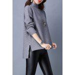 Turtleneck High Low Long Sleeve Sweater - GRAY
