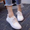 Buy WHITE Casual Tie Up and Stitching Design Athletic Shoes For Women for $21.36 in GearBest store