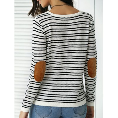 Trendy Patchwork Design Striped Sweater