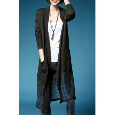 Collarless tricoté Cardigan long
