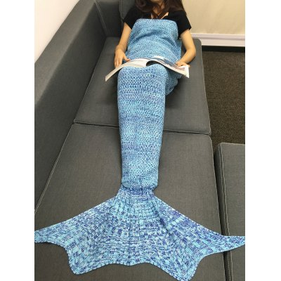 Buy LIGHT BLUE Fashion Multicolor Knitting Sleeping Bag Fish Tail Design Blanket For Adult for $21.03 in GearBest store