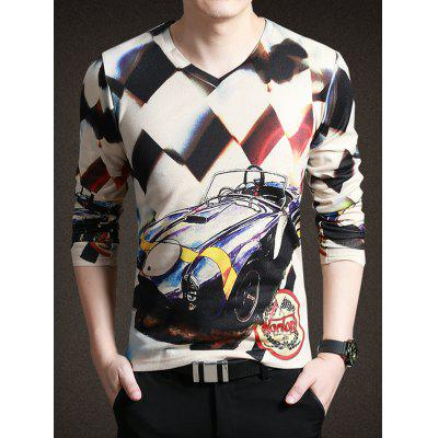 Chic Car Print V-Neck Long Sleeve Tee For Men