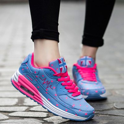 Stylish Tie Up and Heart Print  Design Athletic Shoes For Women
