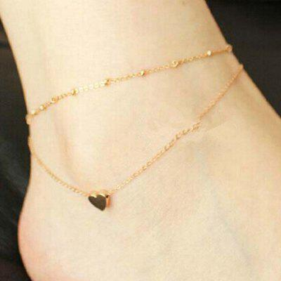 Gold Plated Mini Heart Charm Anklet