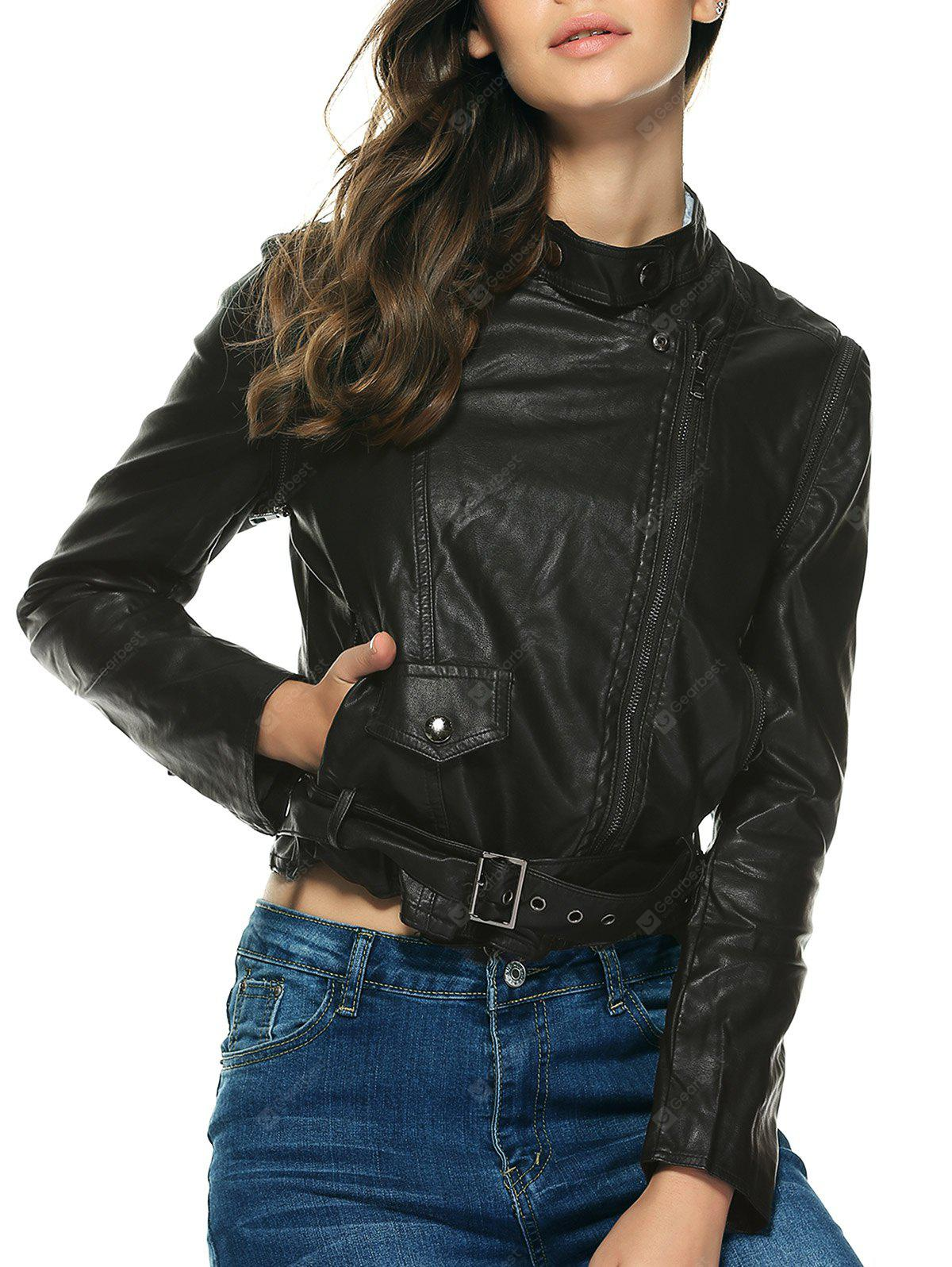Stylish Pure Color Belted Jacket For Women