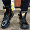 Stylish High Top and Metal Design Casual Shoes For Men - BLACK