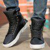 Fashionable Skull Embossed and High Top Design Casual Shoes For Men - BLACK