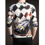 Chic Car Print V-Neck Long Sleeve Tee For Men deal