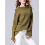 Elegant Dolman SLeeve Pure Color Loose-Fitted Chunky Sweater - FLAX GREEN