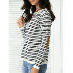 Trendy Patchwork Design Striped Sweater for sale
