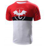 Abstract Print Color Block Round Neck Short Sleeves T-Shirt For Men - RED WITH WHITE